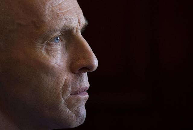 In this Sunday, Oct. 20, 2013 photo, Bob Bradley from the US, Egypt's national team coach pauses, during an interview with The Associated Press, in Cairo, Egypt. With Egypt still reeling from a 6-1 loss to Ghana in a World Cup playoff, the team's American coach is hoping to restore some pride to the bruised national side. It's unclear, however, if Bob Bradley will even get the chance to do that. (AP Photo/Hassan Ammar)