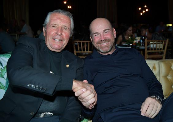 Gary Player and Thomas Bjorn at the gala dinner prior to this year's tournament