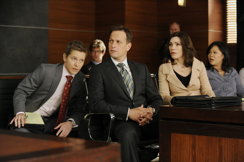"""Cary (Matt Czuchry), Will (Josh Charles) and Alicia (Julianna Margulies) discuss strategy for their latest case in """"Two Girls, One Code,"""" the third episode of """"The Good Wife"""" Season 4."""
