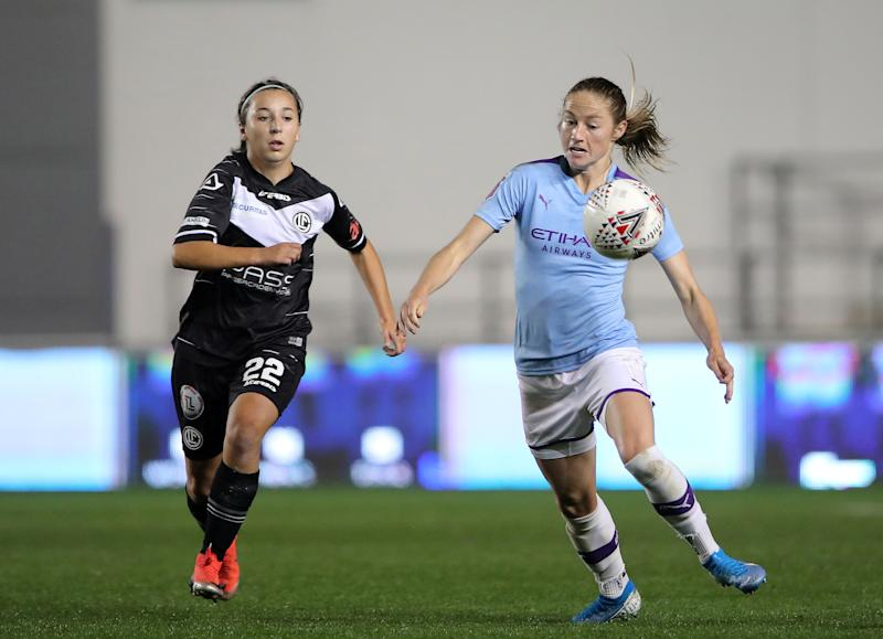 Manchester City's Janine Beckie in action with FC Lugano's Sofia Pedrazzini Credit: Reuters/Molly Darlington