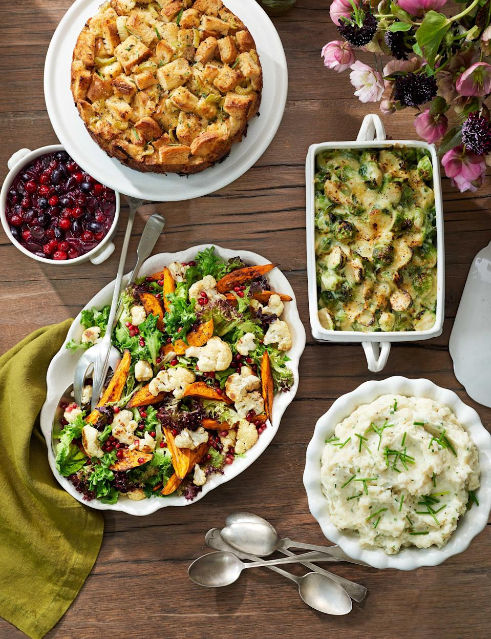 """<p>Turkey and ham may take center stage on the <a href=""""https://www.countryliving.com/food-drinks/g637/thanksgiving-menus/"""" rel=""""nofollow noopener"""" target=""""_blank"""" data-ylk=""""slk:Thanksgiving menu"""" class=""""link rapid-noclick-resp"""">Thanksgiving menu</a>, but don't kid yourself: This holiday is all about the vegetables. Fall is harvest season, when more <a href=""""https://www.countryliving.com/food-drinks/g33668350/fall-fruits-vegetables/"""" rel=""""nofollow noopener"""" target=""""_blank"""" data-ylk=""""slk:fresh fruits and veggies"""" class=""""link rapid-noclick-resp"""">fresh fruits and veggies</a> are available than ever, and Thanksgiving is the time to make use of all of it, from creamy potatoes to crunchy greens, from toothsome Brussels sprouts to tender cauliflower and kale. And don't forget <a href=""""https://www.countryliving.com/food-drinks/g3626/fall-salads/"""" rel=""""nofollow noopener"""" target=""""_blank"""" data-ylk=""""slk:the salads"""" class=""""link rapid-noclick-resp"""">the salads</a>!</p>"""