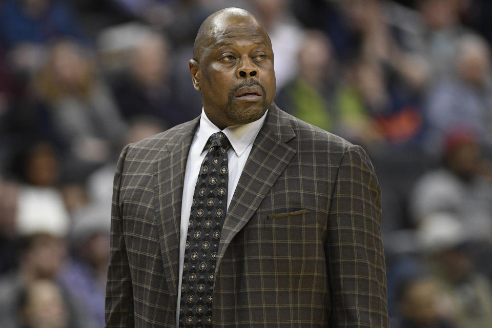 Georgetown head coach Patrick Ewing reacts during the first half of an NCAA college basketball game against Villanova, Wednesday, Feb. 20, 2019, in Washington. (AP Photo/Nick Wass)