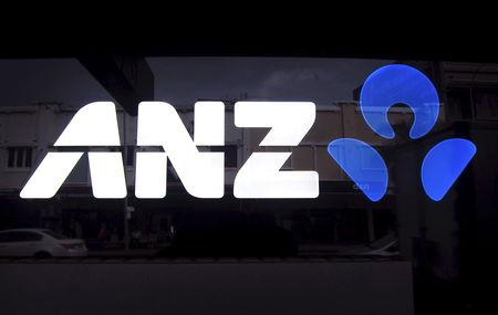 The logo of ANZ on a local branch in Sydney