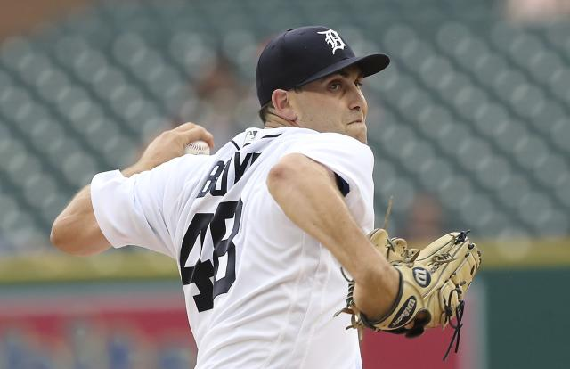 Detroit Tigers starting pitcher Matthew Boyd throws during the first inning of the team's baseball game against the Texas Rangers, Thursday, July 5, 2018, in Detroit. (AP Photo/Carlos Osorio)