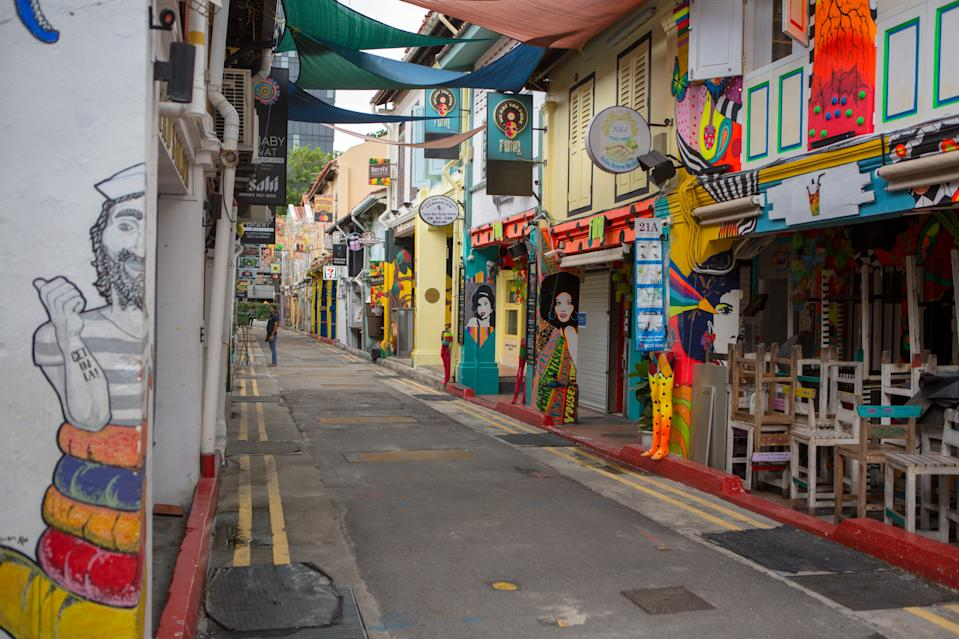 Closed shops seen along Haji Lane on 7 April 2020, the first day of Singapore's month-long circuit breaker period. (PHOTO: Dhany Osman / Yahoo News Singapore)