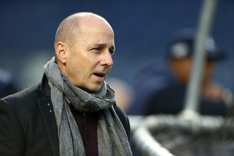 NEW YORK, NEW YORK - OCTOBER 17: New York Yankees General Manager Brian Cashman looks on during batting practice prior to game four of the American League Championship Series against the Houston Astros at Yankee Stadium on October 17, 2019 in New York City. (Photo by Mike Stobe/Getty Images)