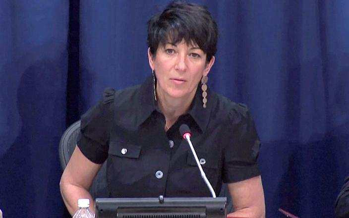 Ghislaine Maxwell speaks at a news conference at the United Nations in New York - Reuters TV