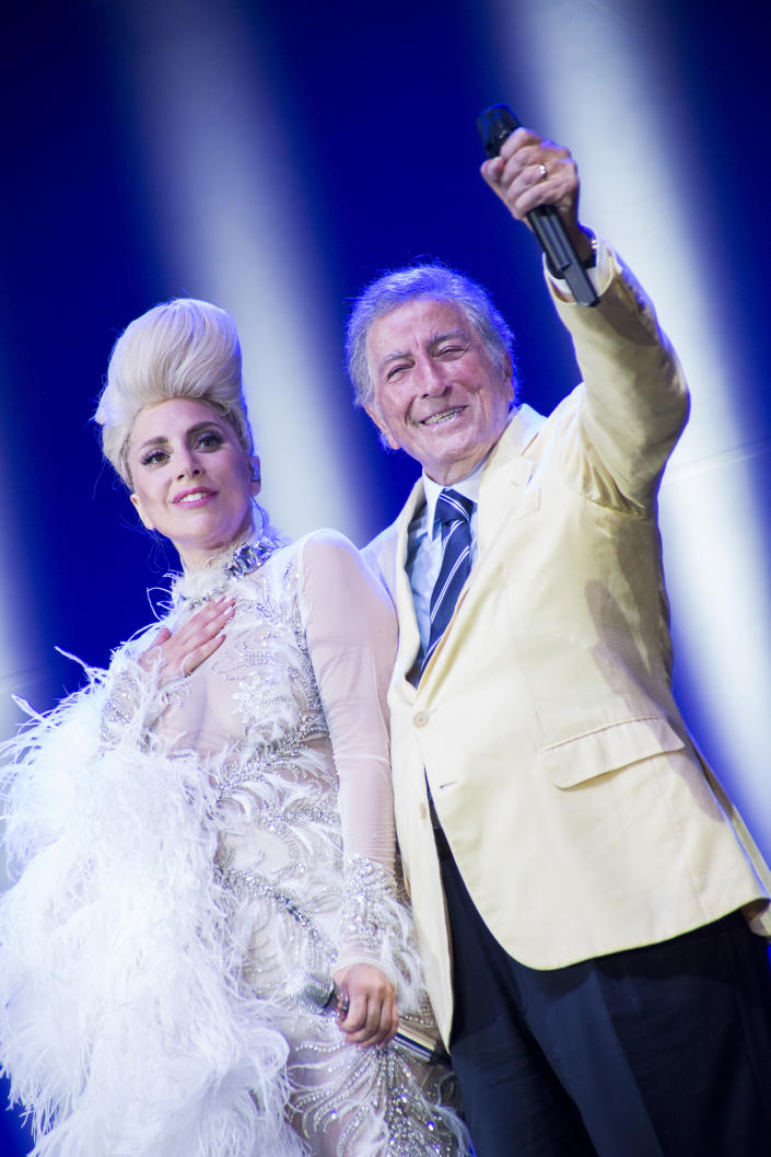 Lady Gaga and the singer Tony Bennett duet at Umbria Jazz. Perugia, Italy. 20th July 2015 (Photo by Marco Piraccini\Archivio Marco Piraccini\Mondadori via Getty Images)