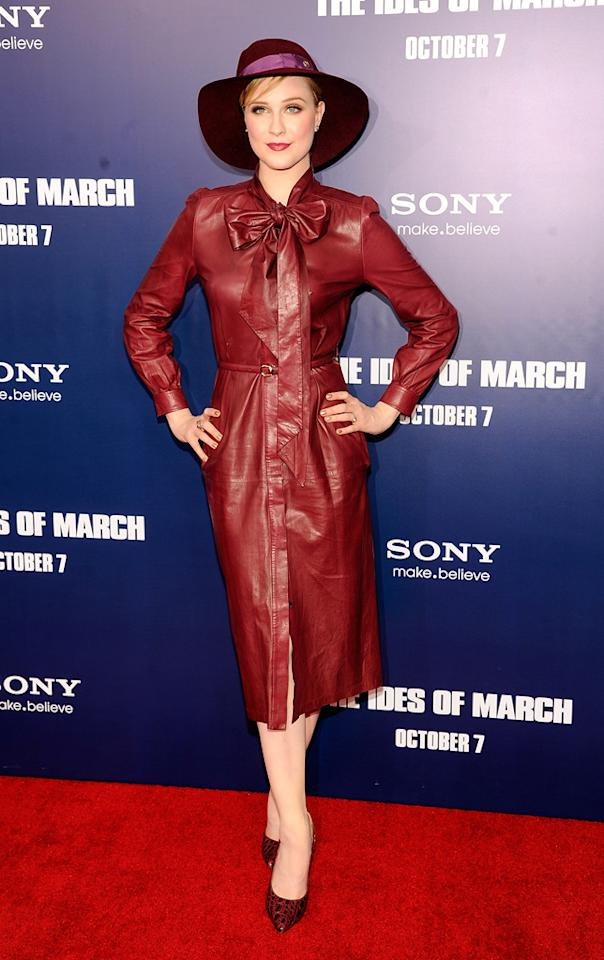 """The hat plus the red leather Gucci dress plus the pumps are not adding up to a good look for Evan Rachel Wood at the New York premiere of """"The Ides of March"""" on October 5, 2011."""