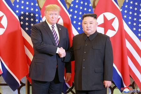North Korea's leader Kim Jong Un and U.S. President Donald Trump shake hands during the second U.S.-North Korea summit in Hanoi, Vietnam, in this photo released on February 28, 2019 by North Korea's Korean Central News Agency (KCNA). KCNA via REUTERS