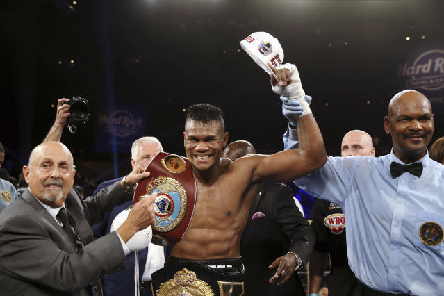 Eleider Alvarez celebrates after he knocked out Sergey Kovalev, of Russia, in the seventh round of their boxing bout at 175 pounds, Saturday, Aug. 4, 2018, in Atlantic City, N.J. (AP Photo)