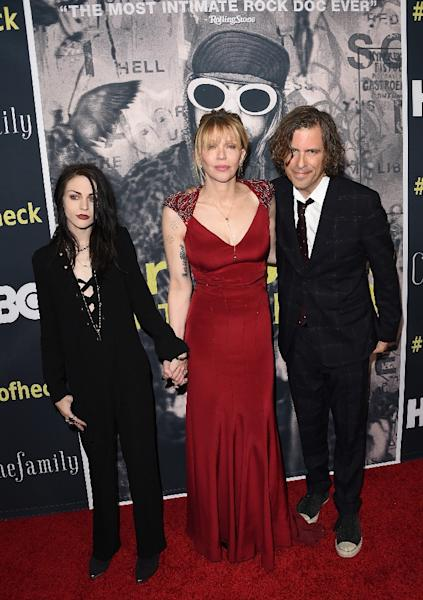 L-R: Executive Producer Frances Bean Cobain, singer/songwriter/actress Courtney Love and Director/Writer/Producer Brett Morgen attend HBO's 'Kurt Cobain: Montage Of Heck' Los Angeles Premiere on April 21, 2015 in Hollywood, California (AFP Photo/Jason Merritt)