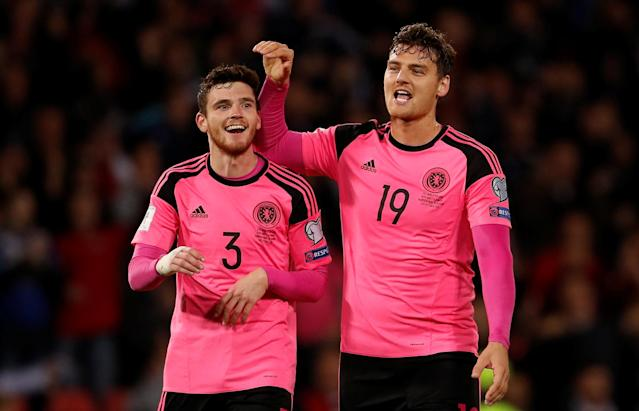 Soccer Football - 2018 World Cup Qualifications - Europe - Scotland vs Slovakia - Hampden Park, Glasgow, Britain - October 5, 2017 Scotland's Andrew Robertson and Chris Martin celebrate after the match Action Images via Reuters/Lee Smith