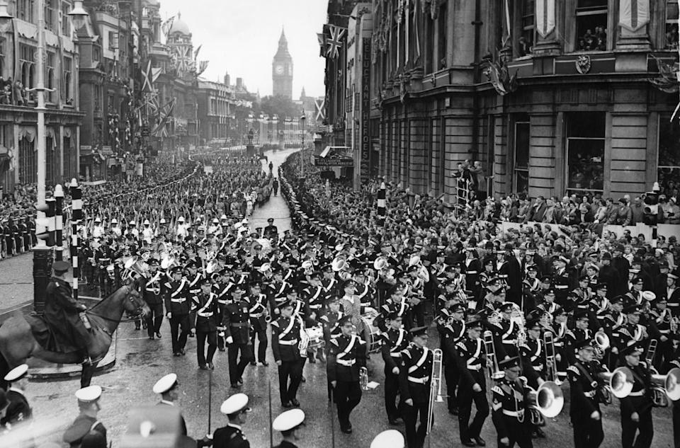 The Colonial Contingents of the armed service march along Whitehall following the Coronation of Queen Elizabeth II at Westminster Abbey, 2nd June 1953. (Photo by Staff/Mirrorpix/Getty Images)