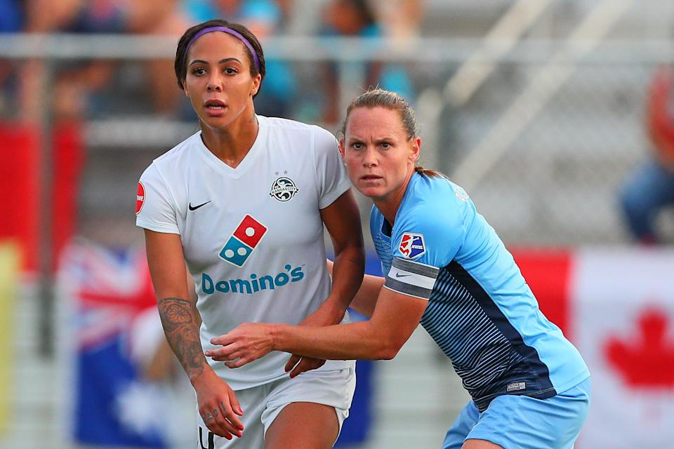 PISCATAWAY, NJ - JULY 08:  FC Kansas City forward Sydney Leroux (14) and Sky Blue FC defender Christie Pearce (3) during the first half of the National Womens Soccer League game between Sky Blue FC and FC Kansas City on July 08, 2017, at Yurcak Field in Piscataway, NJ.   (Photo by Rich Graessle/Icon Sportswire via Getty Images)