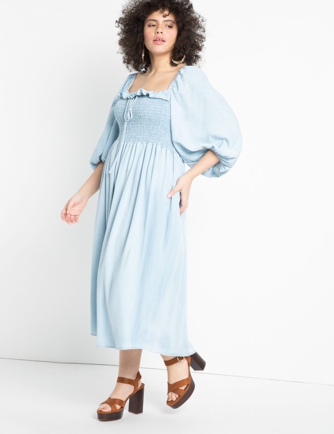 """<br><br><strong>Eloquii</strong> Smocked Bodice Chambray Dress 