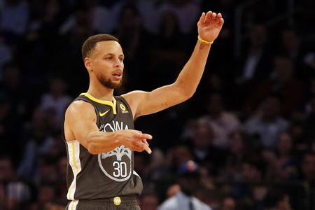 Feb 26, 2018; New York, NY, USA; Golden State Warriors guard Stephen Curry (30) reacts after making a three-point basket and being fouled against the New York Knicks during the second half at Madison Square Garden. Mandatory Credit: Adam Hunger-USA TODAY Sports