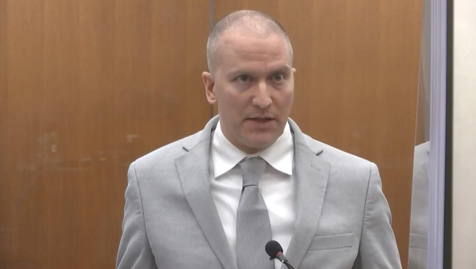 In this image taken from video, former Minneapolis police Officer Derek Chauvin addresses the court as Hennepin County Judge Peter Cahill presides over Chauvin's sentencing, Friday, June 25, 2021, at the Hennepin County Courthouse in Minneapolis. Chauvin faces decades in prison for the May 2020 death of George Floyd. (Court TV via AP, Pool)