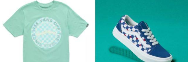 The image on the left is a light teal t-shirt against a white background, the image on the right is a blue, white and red sneaker against a teal background.