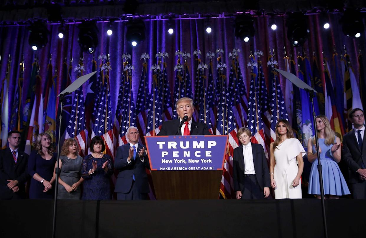 U.S. President-elect Donald Trump speaks at his election night rally in New York, on Nov. 9, 2016. (Carlo Allegri/Reuters)