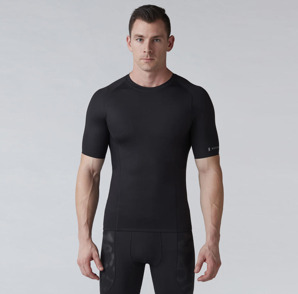 """<p>If he's committing to a workout regimen, having some compression exercise wear is beneficial. It's thought to boost blood flow and help clear lactose to boost workout performance. Second Skin has double panels for comfort in sensitive areas and wicks moisture to keep you cool. And wearing it will accentuate Dad's chiseled physique. Short sleeve top, <a rel=""""nofollow noopener"""" href=""""https://www.secondskin.com/p/second-skin-mens-quatroflx-short-sleeve-compression-top-16au2mcmprssnsstpapt/16au2mcmprssnsstpapt?&color=Pure%20Black"""" target=""""_blank"""" data-ylk=""""slk:$50"""" class=""""link rapid-noclick-resp"""">$50</a>; shorts, <a rel=""""nofollow noopener"""" href=""""https://www.secondskin.com/p/second-skin-mens-quatroflx-10-compression-shorts-16au2m10cmprssnshapb/16au2m10cmprssnshapb?&color=Peacoat"""" target=""""_blank"""" data-ylk=""""slk:$40"""" class=""""link rapid-noclick-resp"""">$40</a> (Courtesy of Dick's Sporting Goods) </p>"""