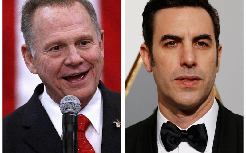Roy Moore, left, says Sacha Baron Cohen's portrayal was