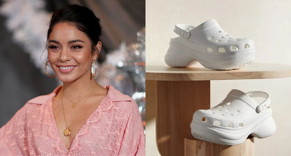 Vanessa Hudgens stepped out in a pair of platform crocs. Images via REUTERS/Mario Anzuoni, Nordstrom.