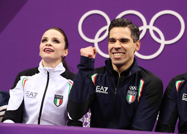 Figure Skating - Pyeongchang 2018 Winter Olympics - Ice Dance short dance competition - Gangneung Ice Arena - Gangneung, South Korea - February 19, 2018 - Anna Cappellini and Luca Lanotte of Italy react to their score. REUTERS/Lucy Nicholson
