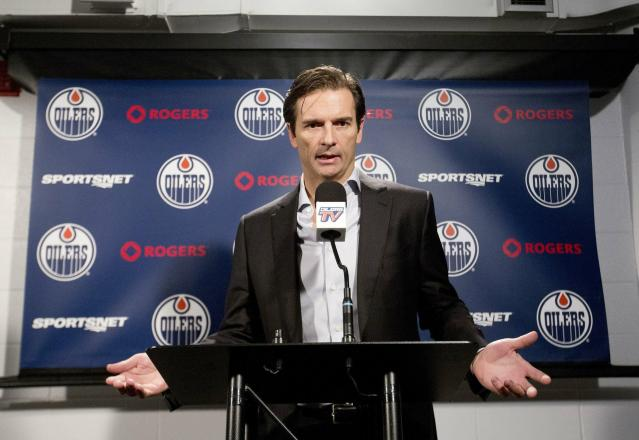 FILE - In this Dec. 16, 2014, file photo, former Edmonton Oilers head NHL hockey coach Dallas Eakins speaks to the media in Edmonton, Alberta. Dallas Eakins is the Anaheim Ducks' new coach. The Ducks announced the move Monday, June 17, 2019, filling the NHL's last head coaching vacancy with the veteran coach of their AHL affiliate in San Diego. (AP Photo/The Canadian Press, Jason Franson, File)
