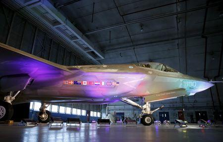 FILE PHOTO: A Lockheed Martin F-35 Lightning II fighter jet is seen in its hanger at Patuxent River Naval Air Station in Maryland October 28, 2015.     REUTERS/Gary Cameron