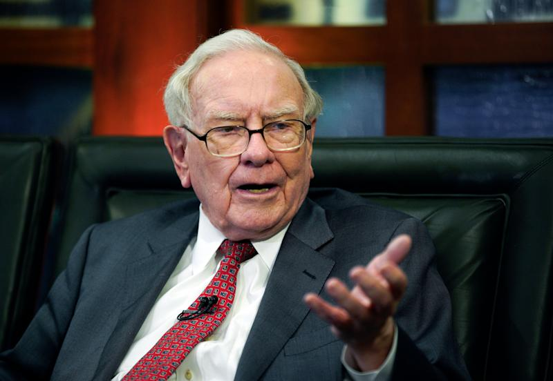 FILE - In this file photo from May 7, 2018 Warren Buffett, Chairman and CEO of Berkshire Hathaway, speaks during an interview in Omaha, Neb. The price of a private lunch with Buffett could set a new record this year as the bid is already over $ 3 million , The online auction, which will raise money for the work of the Glide Foundation to help the homeless in San Francisco, will end on Friday night, June 1, 2018. (AP Photo / Nati Harnik, File)