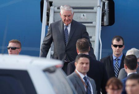 U.S. Secretary of State Tillerson disembarks from plane upon his arrival at Vnukovo International Airport in Moscow