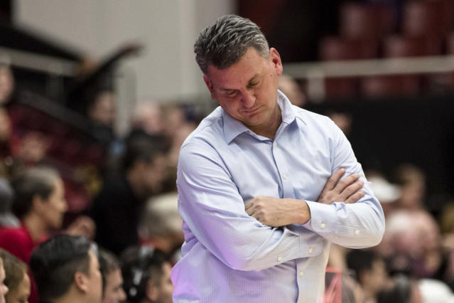 Washington State head coach Mike Hopkins reacts after a Stanford player scored a basket and drew a foul during the second half of an NCAA college basketball game Saturday, Jan. 11, 2020, in Stanford, Calif. (AP Photo/John Hefti)