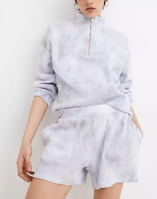 <p>Imagine all the TV watching, reading, and lazying around you can do in these loose <span>Madewell MWL Waffle Pull-On Sweatshorts in Tie-Dye</span> ($55).</p>