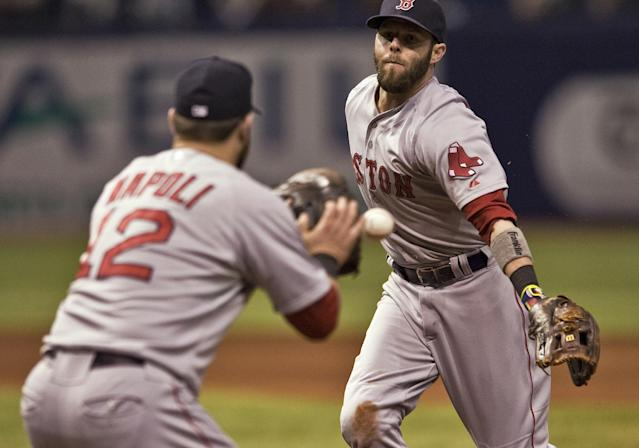 Boston Red Sox second baseman Dustin Pedroia, right, flips the ball to first baseman Mike Napoli for the out on a ground ball by Tampa Bay Rays' David DeJesus during the sixth inning of a baseball game Friday, May 23, 2014 in St. Petersburg, Fla. (AP Photo/Steve Nesius)
