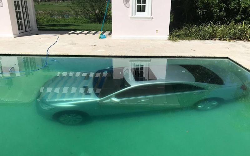 Guy Gentile's Mercedes in the swimming pool  - Guy Gentile