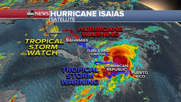 PHOTO: A weather map shows a satellite image of Hurricane Isaias at 12am, July 31, 2020, over the Caribbean. (ABC News)