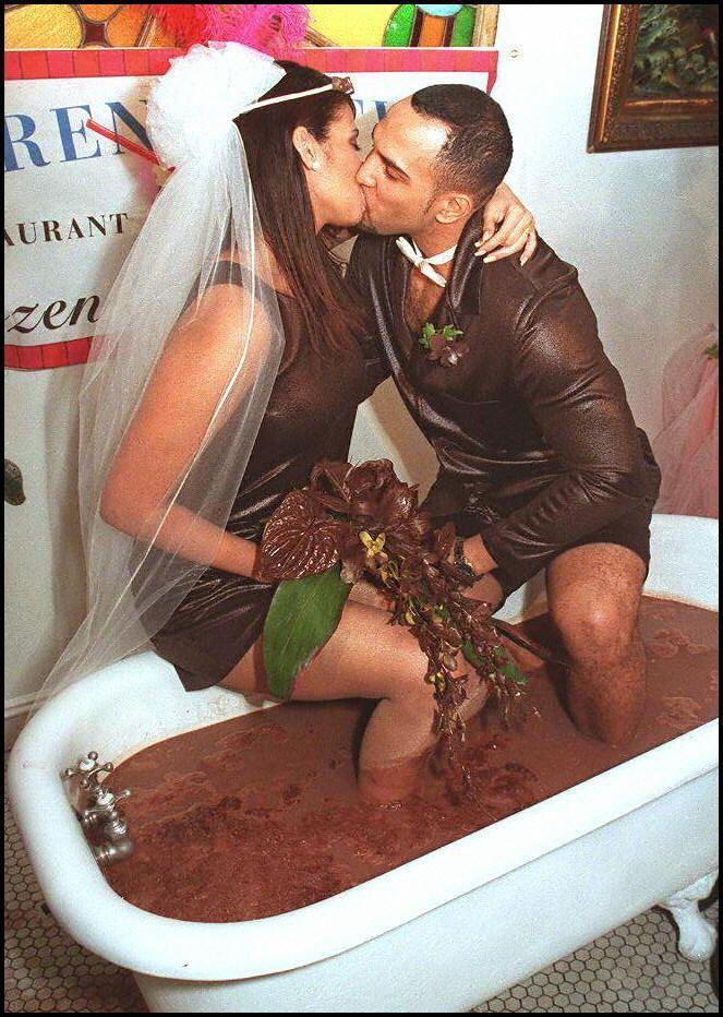 <p>Taking chocolate to a whole new level at Serendipity restaurant, a couple tied the knot in this tub filled with frozen hot chocolate. </p>
