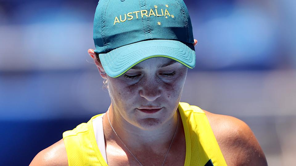 Ash Barty, pictured here during her loss to Sara Sorribes Tormo at the Olympics.