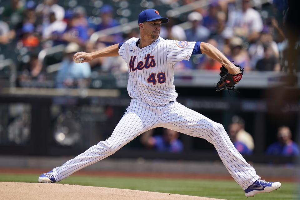 New York Mets' Jacob deGrom (48) during the first inning of the first baseball game of a doubleheader against the Milwaukee Brewers Wednesday, July 7, 2021, in New York. (AP Photo/Frank Franklin II)