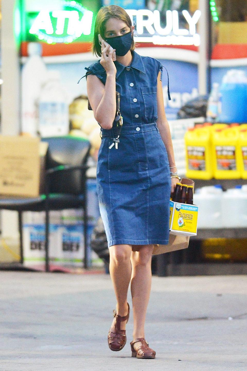 <p>Maya Hawke takes her beverages to-go on Thursday in New York City.</p>