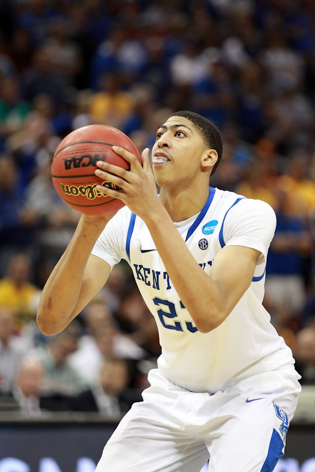 LOUISVILLE, KY - MARCH 17:  Anthony Davis #23 of the Kentucky Wildcats attempts a free throw in the second half against the Iowa State Cyclones during the third round of the 2012 NCAA Men's Basketball Tournament at KFC YUM! Center on March 17, 2012 in Louisville, Kentucky.  (Photo by Andy Lyons/Getty Images)