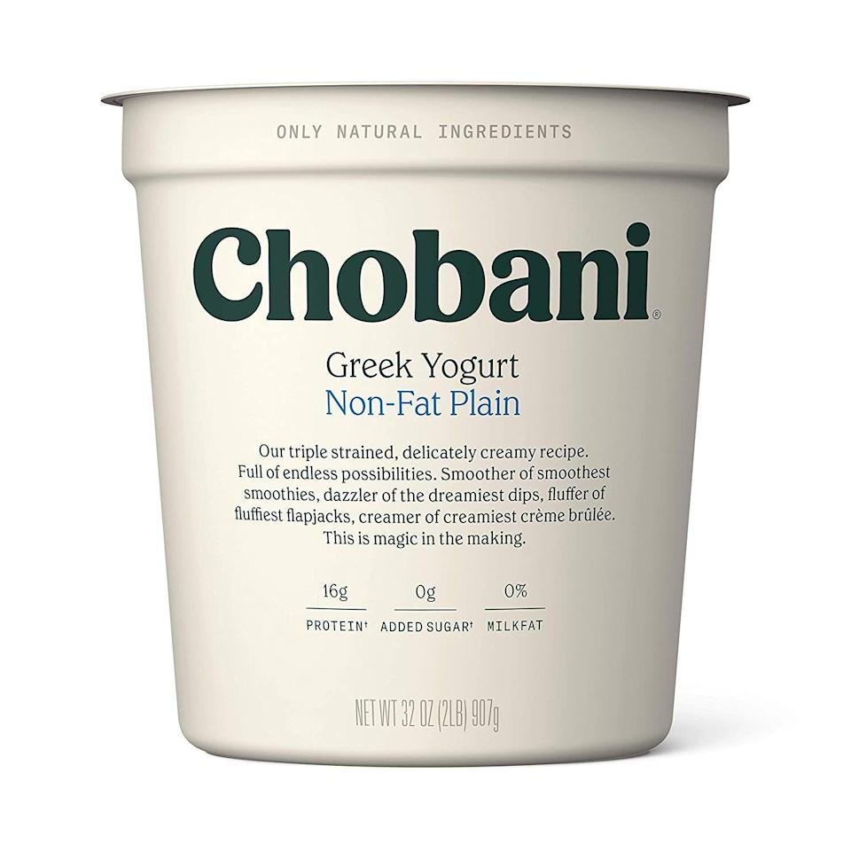 """<p><strong>Chobani</strong></p><p>walmart.com</p><p><strong>$5.34</strong></p><p><a href=""""https://go.redirectingat.com?id=74968X1596630&url=https%3A%2F%2Fwww.walmart.com%2Fip%2F21291511&sref=https%3A%2F%2Fwww.prevention.com%2Ffood-nutrition%2Fhealthy-eating%2Fg36664197%2Fbest-yogurt-brands%2F"""" rel=""""nofollow noopener"""" target=""""_blank"""" data-ylk=""""slk:Shop Now"""" class=""""link rapid-noclick-resp"""">Shop Now</a></p><p>Harris-Pincus loves the simple ingredients, super-smooth texture, and versatility of this yogurt. It also packs live active cultures for a probiotic punch.</p><p><em><strong>Nutrition per serving: </strong>90 cal, 16 g pro, 6 g carb, 0 g fiber, 4 g sugars (0 g added sugars), 0 g fat (0 g sat fat), 65 mg sodium</em></p>"""