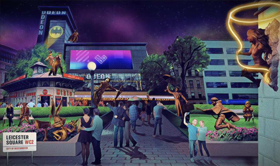 An artist's interpretation of Scenes in the Square, a dynamic film statue trail in Leicester Square, the home of entertainment. The watercolour shows the eight original statues that were unveiled in February, as well as the new upcoming addition of Harry Potter, who will soon join the popular trail (PA)