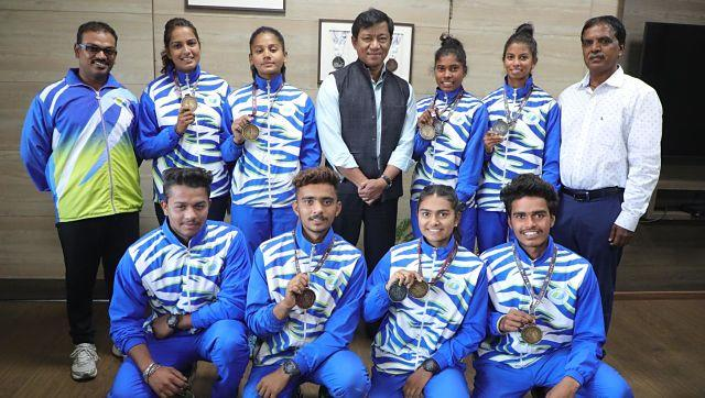 MP water sports academy players with Girdhari Lal Yadav (in white, extreme right). Special arrangement