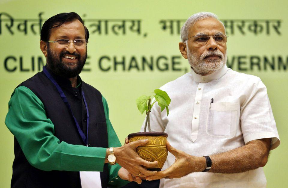 Union Minister for Environment, Forest and Climate Change Prakash Javadekar presents a sapling to Prime Minister Narendra Modi in a file photo.