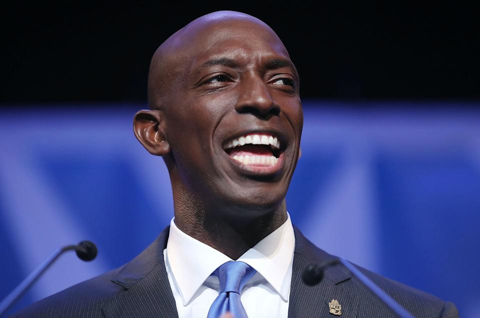 Miramar, Florida Mayor Wayne Messam speaks at a rally at Florida Memorial University in Miami Gardens, Florida. The Democrat Messam announced his candidacy for president at the rally. (Photo: Joe Raedle/Getty Images)