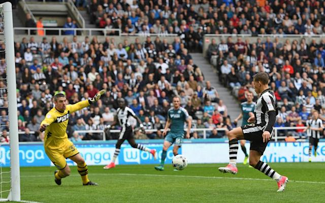 <span>Dwight Gayle shoots and scores</span> <span>Credit: REX FEATURES </span>