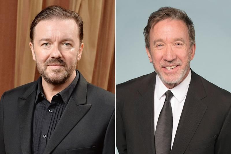 Ricky Gervais; Tim Allen | Andrew H. Walker/Getty Images; Michael Bezjian/WireImage