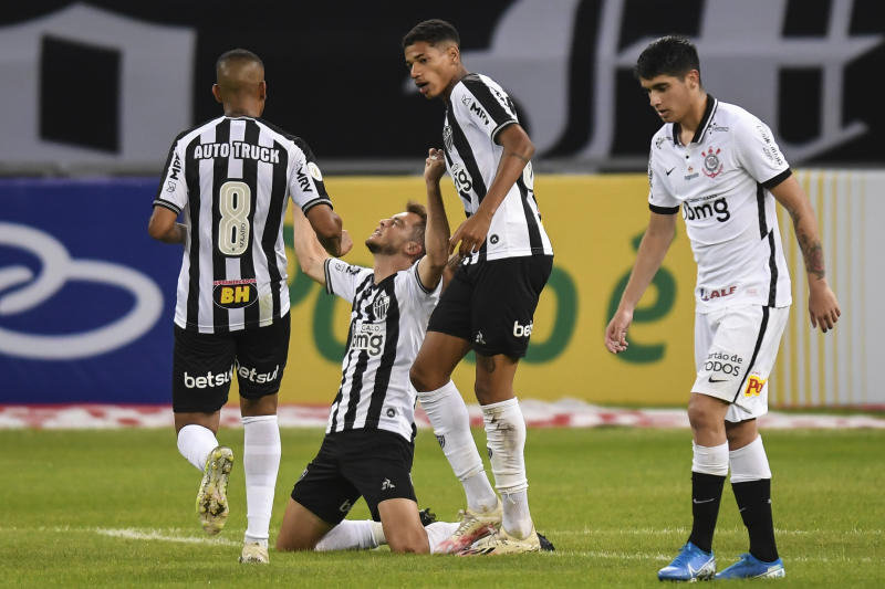 BELO HORIZONTE, BRAZIL - AUGUST 12: Hyoran #20 of Atletico MG celebrates a scored goal against Corinthians during a match between Atletico MG and Corinthians as part of Brasileirao Series A 2020 at Mineirao Stadium on August 12, 2020 in Belo Horizonte, Brazil. (Photo by Pedro Vilela/Getty Images)